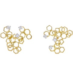 Andrew Grima, Diamond and Gold Honeycomb Design Earrings