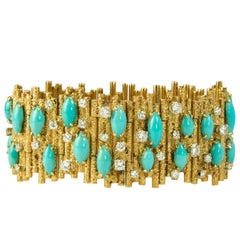 George Weil, Diamond, Turquoise, Platinum, and Gold Bracelet