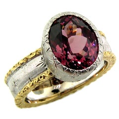 5.52ct Malaya Garnet in 18kt Hand Engraved Ring, Handmade in Italy