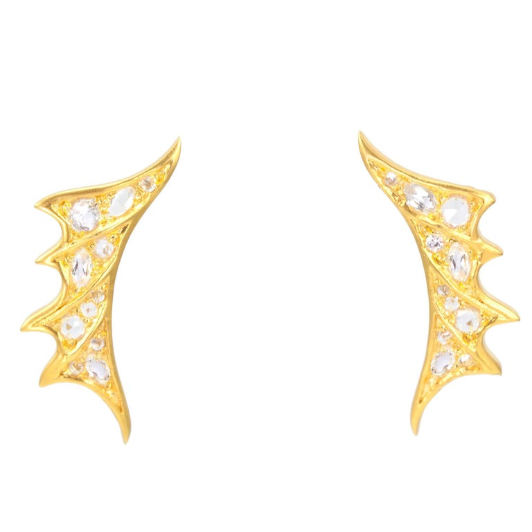 Lauren Harper White Sapphires, 18 Karat Gold Stud Earrings