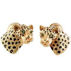 Tiffany & Co. Black Enamel Emerald Gold Leopard Cufflinks