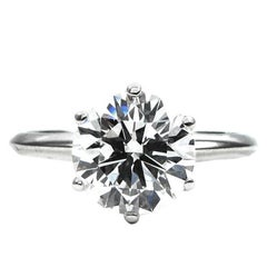 Tiffany & Co. 2.18 Carat GIA Cert E VS1 Round Diamond Platinum Ring