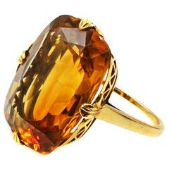 Tiffany & Co. Art Deco Citrine 18 Karat Gold Ring