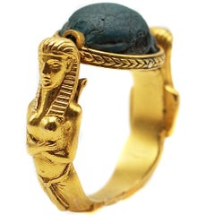 Unique Egyptian Revival Faience Scarab Intaglio 18 Karat Gold Flip  Seal Ring