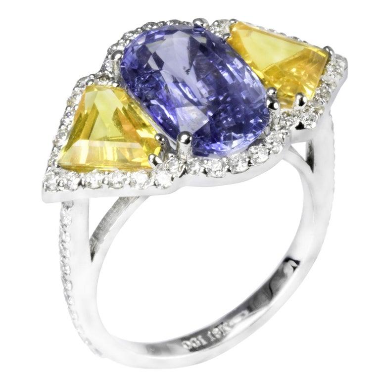 Ceylon Blue Yellow Sapphire Diamond Cocktail Ring GIA Certified