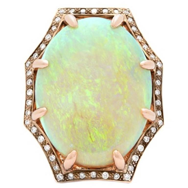11 Carat Opal Diamond Rose Gold Ring