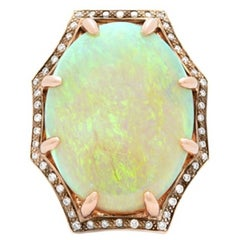Exceptional 11 Carat Opal Diamond Rose Gold Ring