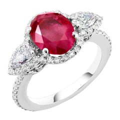 Burma Ruby 3.43 Carat Diamond Platinum Ring GIA Certified  No Indication Heat