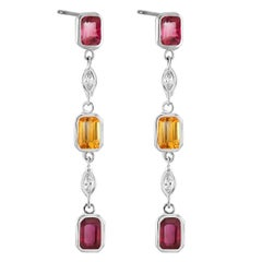 Ruby Diamond Yellow Sapphire Dangle Drop Two Tone Gold Earrings