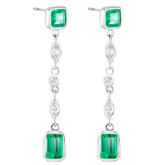 Colombian Emerald Weighing 2.50 Carats Marquise Diamond Dangle Drop Earrings