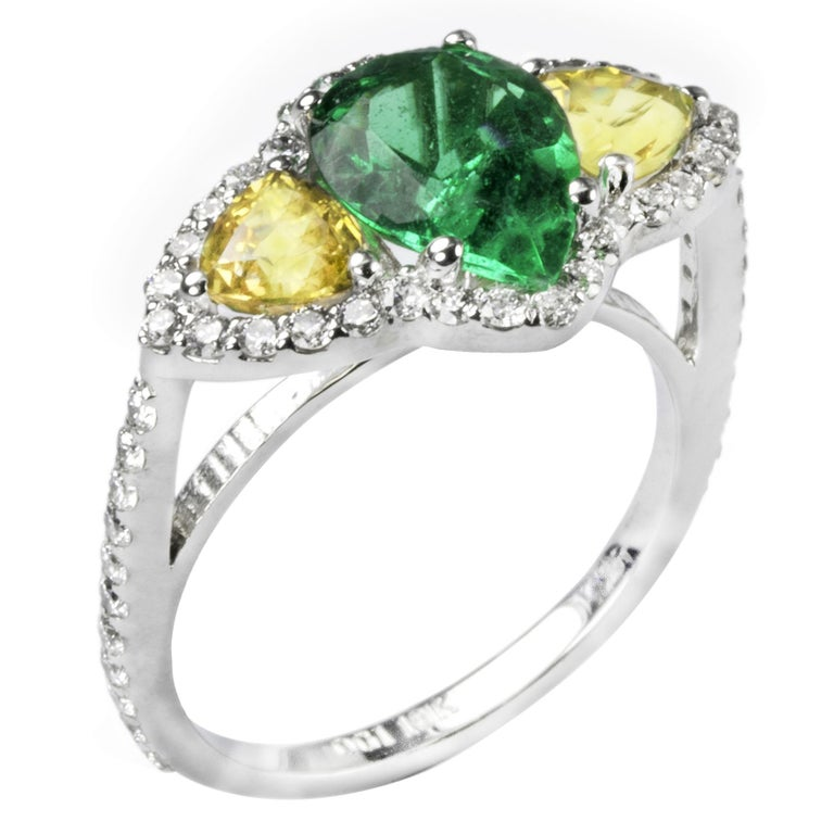 18k White Gold Colombian Emerald Diamond Yellow Sapphire Cocktail Cluster Ring