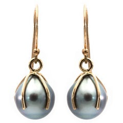 Tahitian Pearl and 14 Karat Drop Earrings