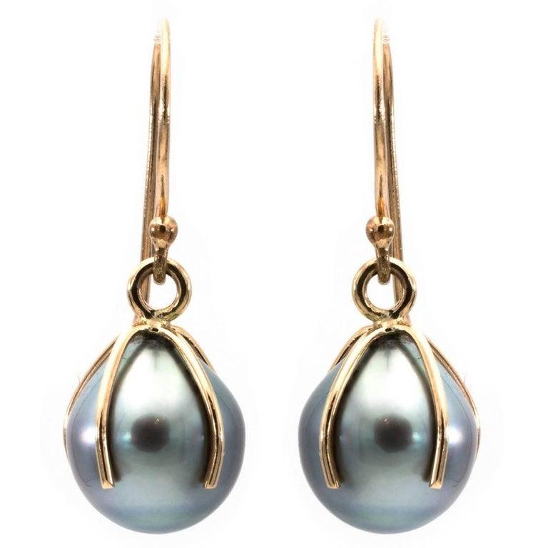 Tahitian Pearl and 14 Karat Drop Earrings