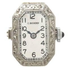 Bucherer White Gold Ring Watch, circa 1920s
