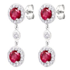 Double Halo Round Ruby Diamond Drop Earrings