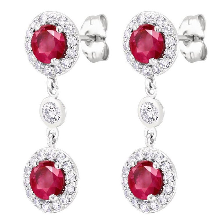 18k White Gold Drop Diamond Earrings With Four Burma Ruby Weighing 2 90 Carat For