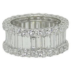 3.97 Carat Baguette and Round Diamond Wedding Band