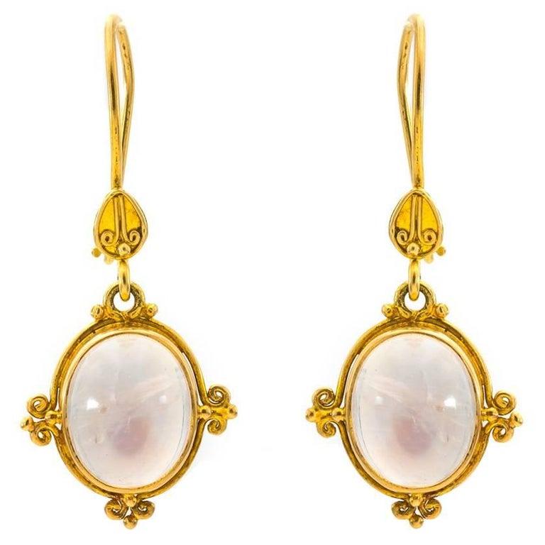 Moonstone Drop Earrings Set in 18 Karat Gold