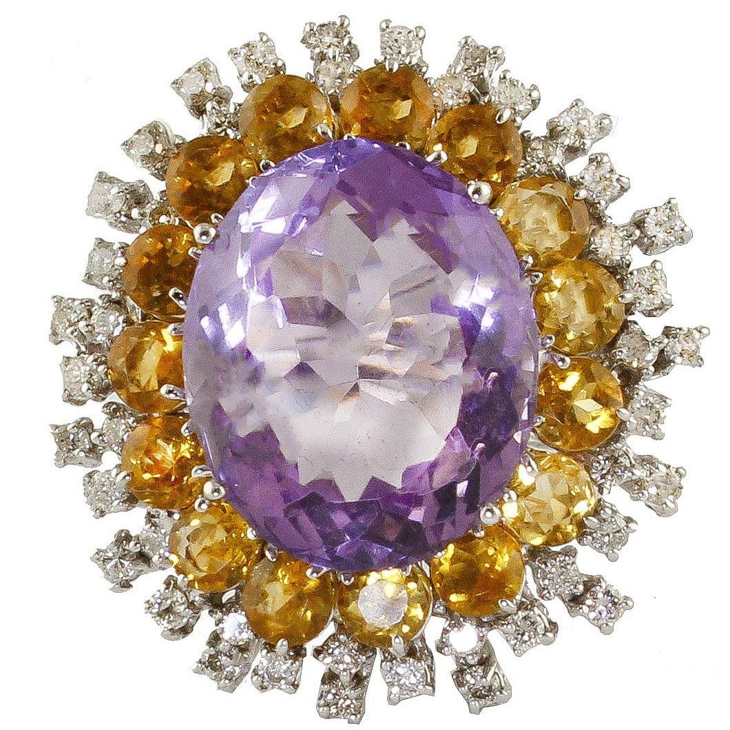 Amethyst Topaz and Diamonds White Gold Sun Ring