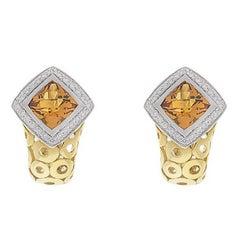 Citrine and Diamond 18K Earrings