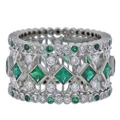 Buccellati Prestigio White Gold Diamond Emerald Band Ring