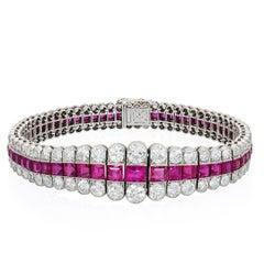 Edwardian Burma Ruby and Diamond Bracelet