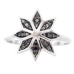 Zoe & Morgan Lakshmi Flower 9 karat White Gold Black Diamond Ring