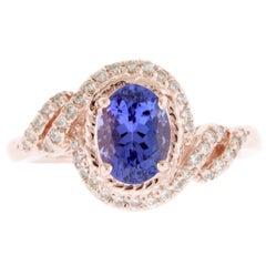 1.46 Carat Oval Tanzanite and Diamond Ring
