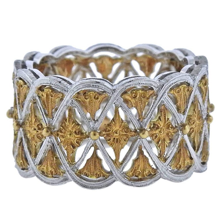 Buccellati White Yellow Gold Wide Band Ring