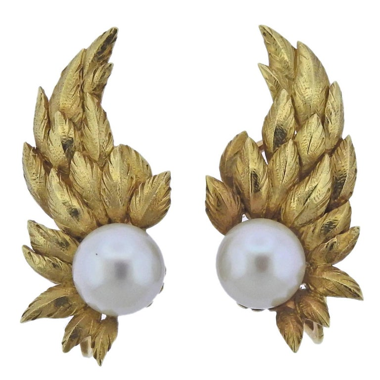 Tiffany & Co. Schlumberger Pearl Gold Wing Earrings