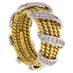 Tiffany & Co. Schlumberger Five-Row Diamond Gold Wrap Band Ring