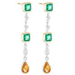 White Gold Emerald Cut Colombian Emerald Diamond Drop Earrings Weight 4.40 Carat