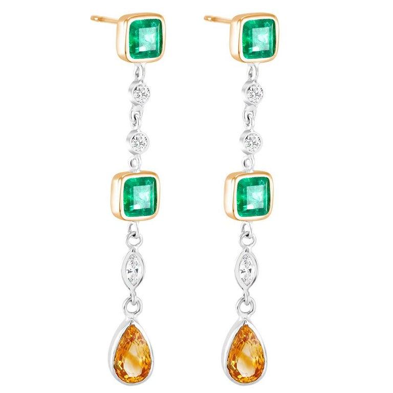 White Gold Emerald Cut Colombian Emerald Diamond Drop Earrings