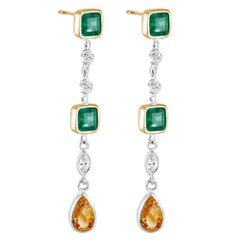 White Gold Emerald Cut Colombian Emerald Diamond Drop Earrings Weight 4.40 Carat