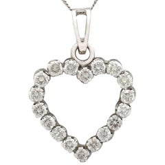 1970s Diamond and White Gold Heart Pendant