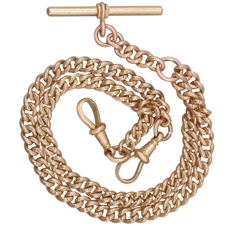 1900s Antique Yellow Gold Double Albert Watch Chain
