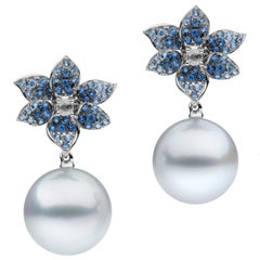 White Diamond Blue Sapphire South Sea Pearl Earrings