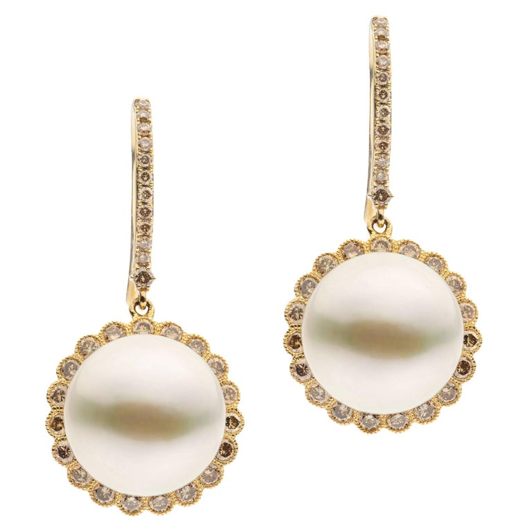 Brown Diamonds White South Sea Pearl Earrings