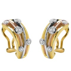 Diamond and Yellow, White and Rose Gold Van der Veken Varens Earrings