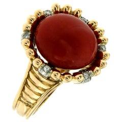 Italian Retro Red Coral Diamond Bi-Color Gold Cocktail Ring