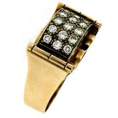 Retro 1.50 Carat Diamond Gold Band Ring