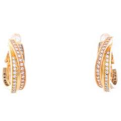 Cartier Trinity 18 Karat Tri-Gold Diamond Hoops Earrings
