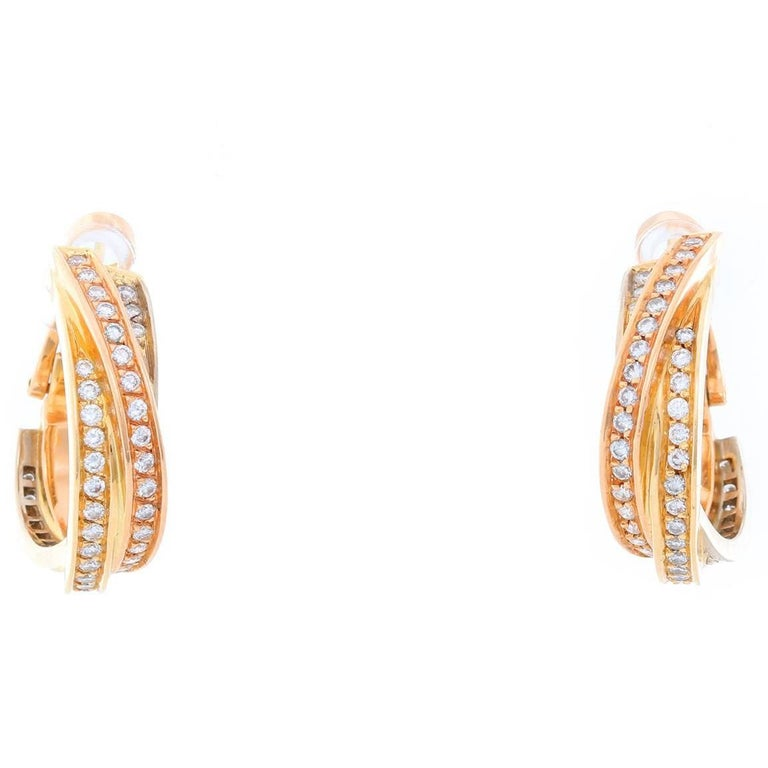 Cartier Trinity 18 Karat Tri-Gold Diamond Hoops Earrings