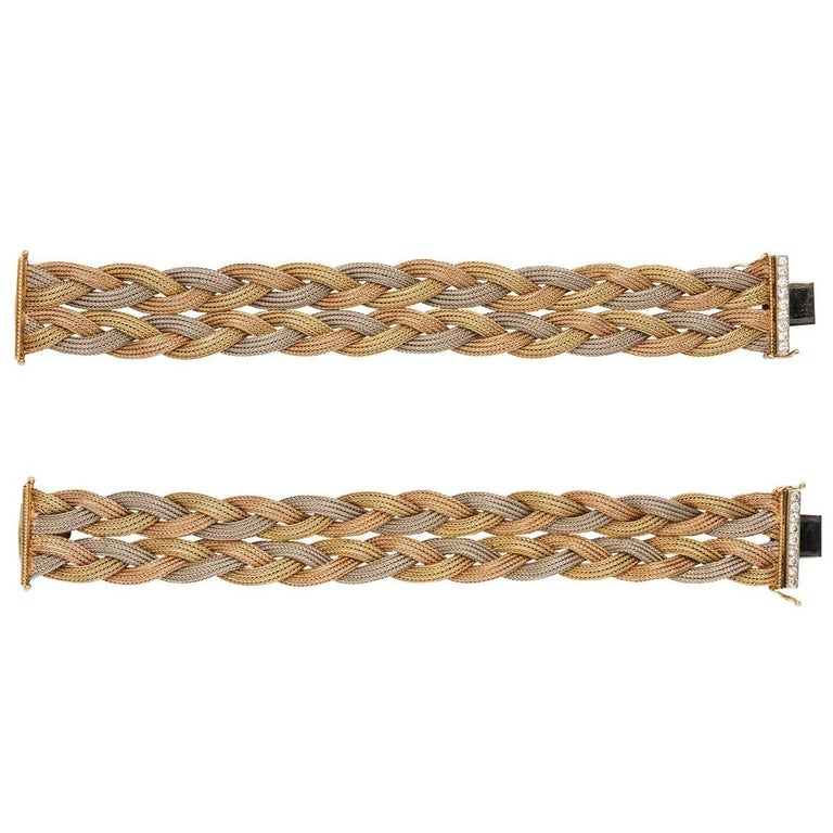 Pair of Diamond 14 Karat Tri-Color Gold Woven Bracelets or Choker