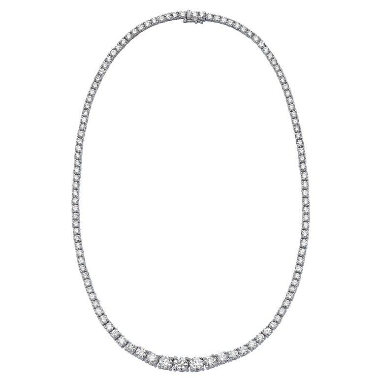 Emilio Jewelry 15.00 Carat Graduating White Diamond Necklace