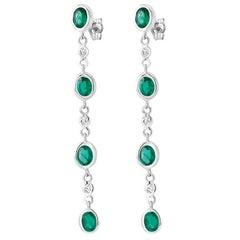 14k White Gold Bezel Long Drop Emerald Weighing 2.50 Carat Diamond Earrings