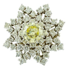 Yellow Diamond White Diamond White Gold Star Ring
