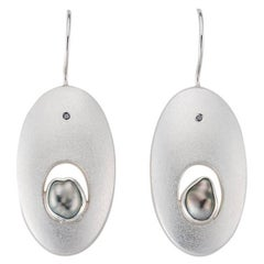 Janis Kerman, Sterling Silver Black Diamond and Pearl Oval Earrings, Silver