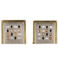Janis Kerman, Palladium and 18 Karat Gold Gem Stone Earrings, Palladium