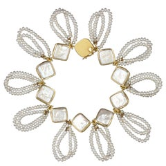 Janis Kerman, Gold and Pearl Link Bracelet, 2018, 18 Karat Gold, Pearl